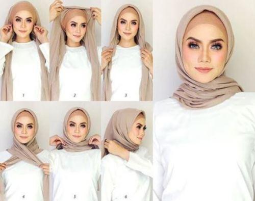 Tutorial hijab segiempat katun